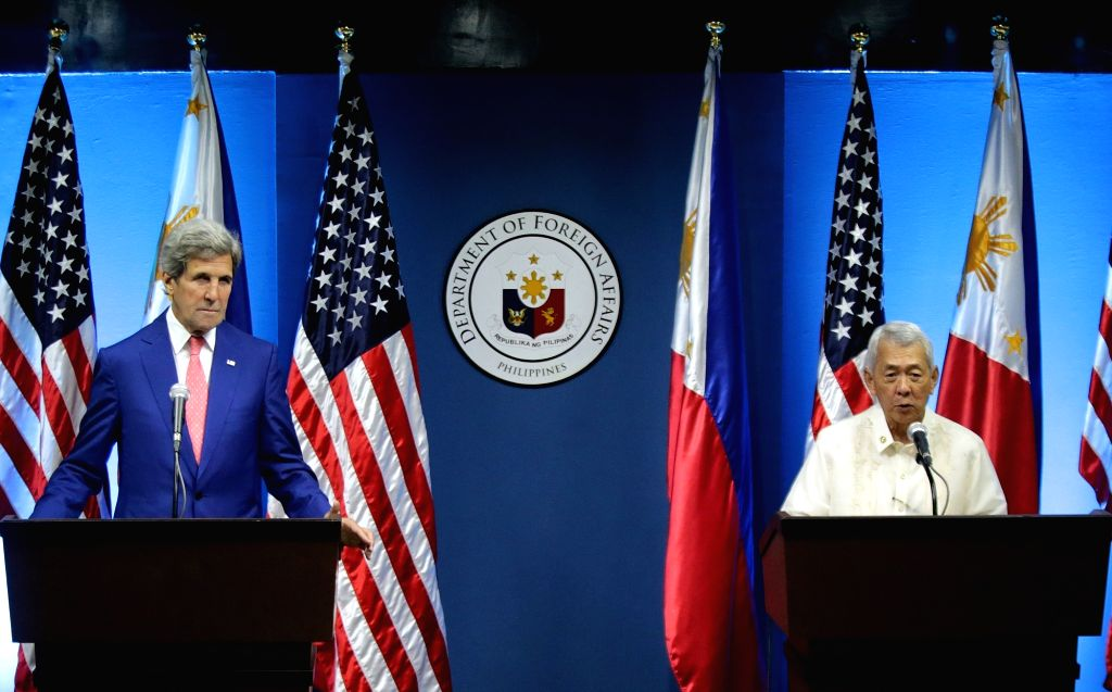 PASAY CITY, July 27, 2016 - U.S. Secretary of State John Kerry (L) and Philippine Foreign Secretary Perfecto Yasay attend a joint press conference at the Philippine Department of Foreign Affairs in ...