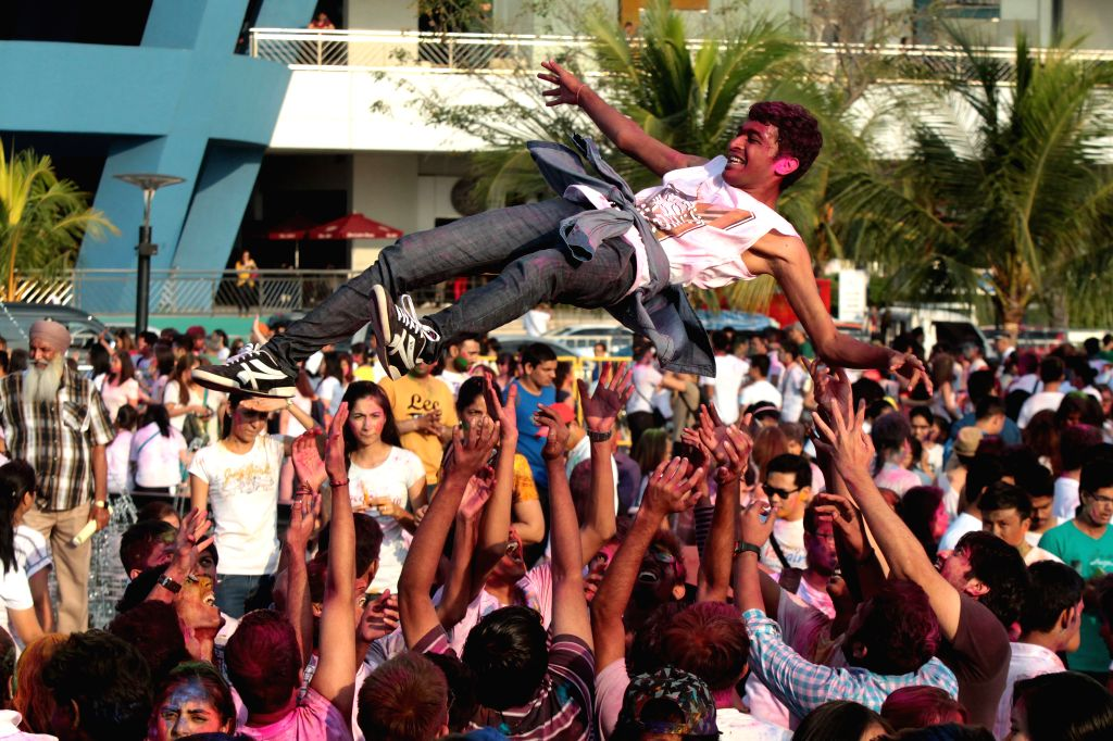 People celebrate the Holi Festival in Pasay City, the Philippines, on March 1, 2015. The Holi festival, also known as the Festival of Colors, is a fun-filled ...