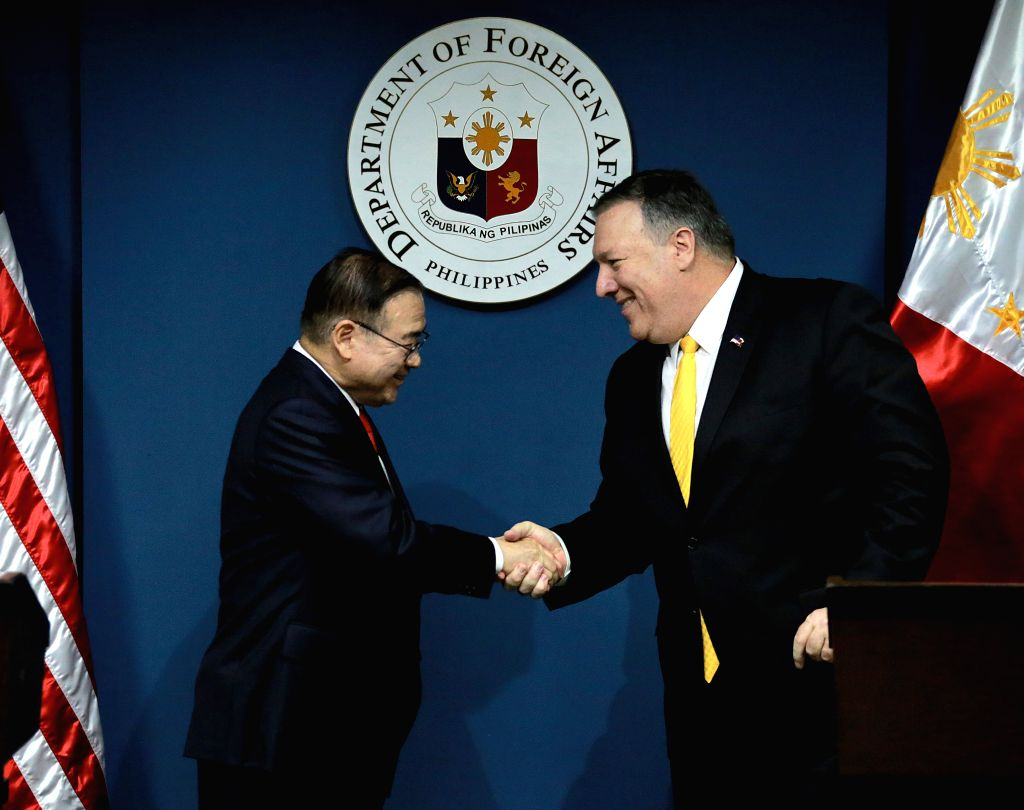 PASAY CITY, March 1, 2019 - U.S. State Secretary Michael Pompeo (R) shakes hands with Philippine Foreign Affairs Secretary Teodoro Locsin during their joint press conference in Pasay City, the ...