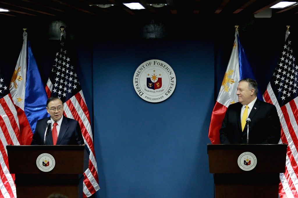PASAY CITY, March 1, 2019 - U.S. State Secretary Michael Pompeo (R) listens to Philippine Foreign Affairs Secretary Teodoro Locsin during their joint press conference in Pasay City, the Philippines, ...