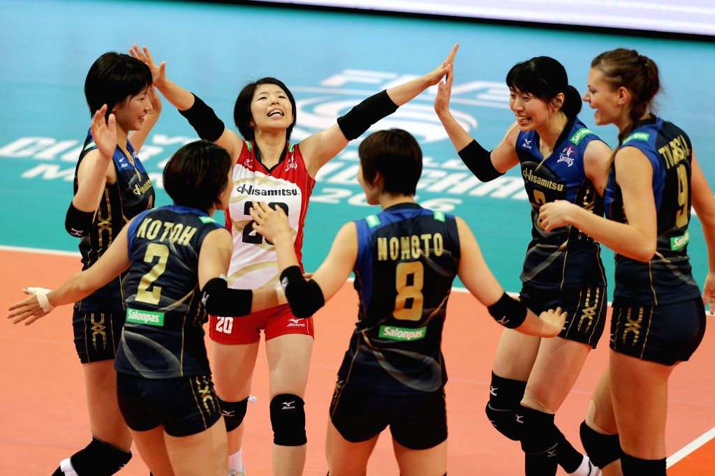 PASAY CITY, Oct. 22, 2016 - Players of Hisamitsu Springs Kobe celebrate after scoring in a match against PSL-F2 Logistics Manila during the 2016 FIVB Women's Club World Championship in Pasay City, ...