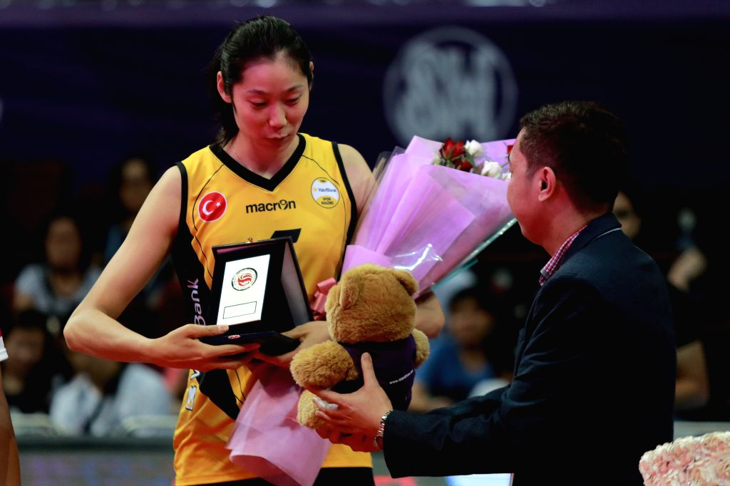"PASAY CITY, Oct. 24, 2016 - China's Zhu Ting (L) of VakifBank Istanbul receives the ""Best Outside Spiker"" award during the awarding ceremony for the FIVB Women's Club World Championship ..."