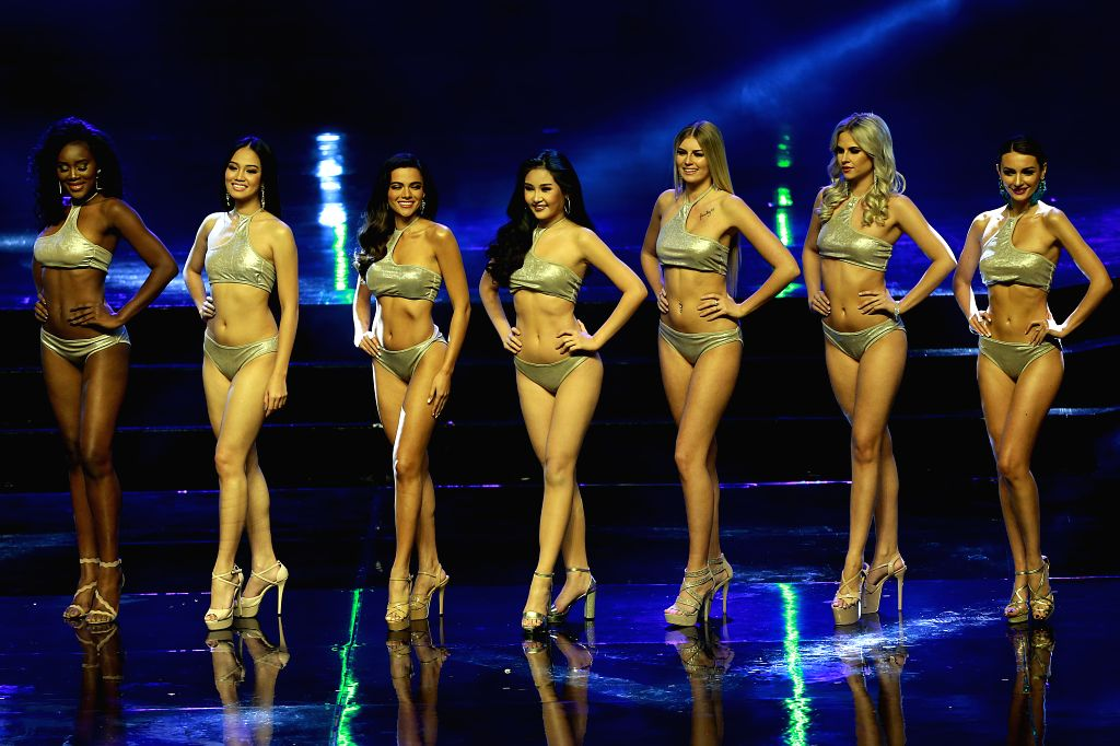 PASAY CITY (THE PHILIPPINES), Jan. 27, 2019 Contestants pose in swimsuits during the 47th Miss Intercontinental coronation night in Pasay City, the Philippines, Jan. 26, 2019. The ...