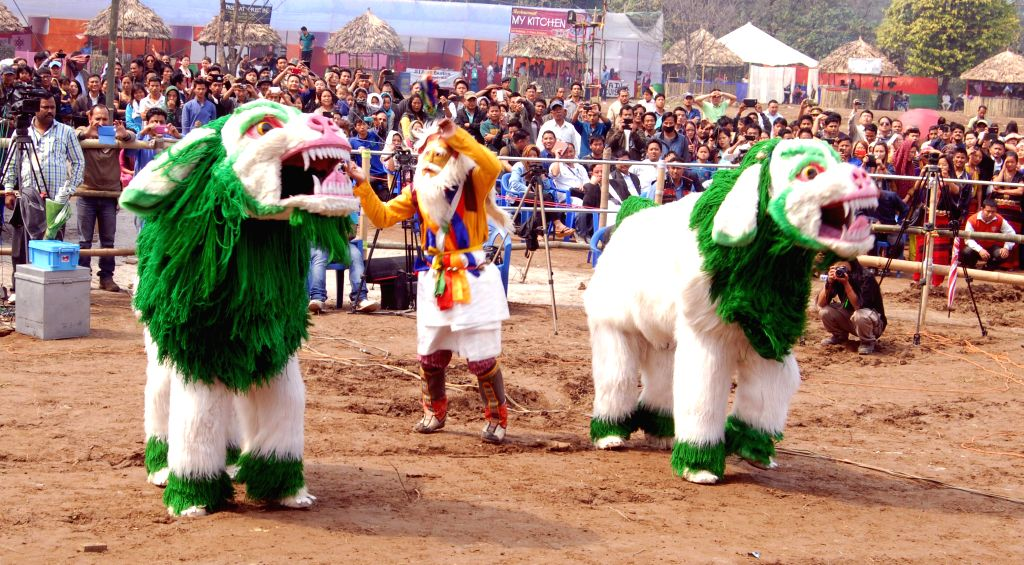 Artists from Tawang perform Lion dance during the inaugural function of the 1st Arunachal Spring carnival in Pasighat in East Siang district of Arunachal Pradesh on March 17, 2015.