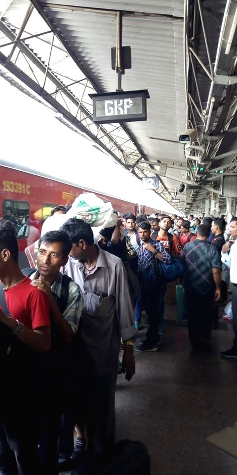 Passengers at platform number 2 of the Gorakhpur Junction railway station, on June 13, 2019.