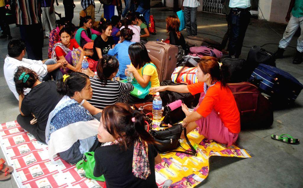 Passengers stranded at Guwahati Railway station after many trains were delayed due to derailment of Delhi-Dibrugarh Rajdhani Express near Goldenganj railway station in Bihar's Saran district on June .