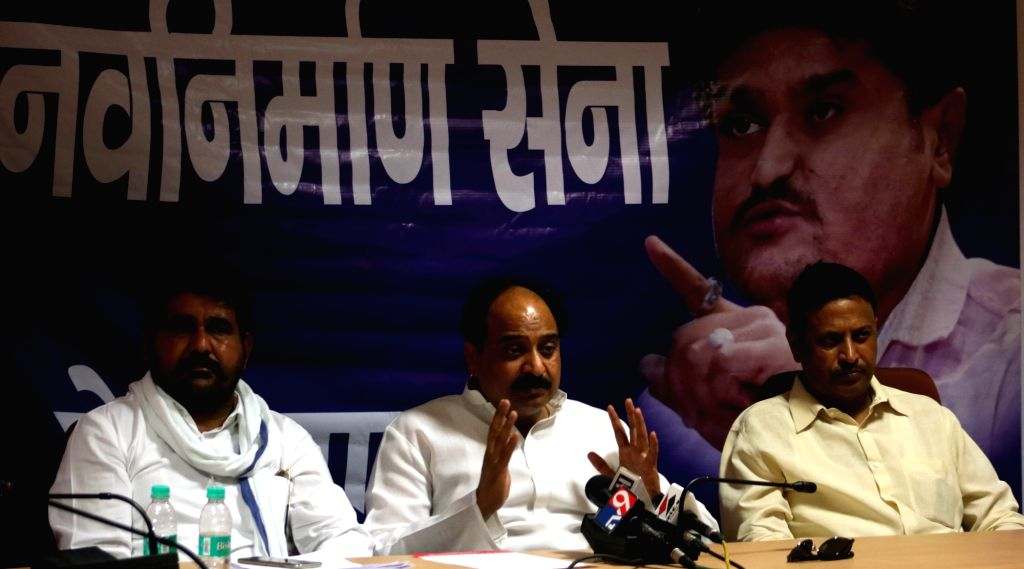 Patel Navnirman Sena (PNS) General Secretary Akhilesh Katiyar addresses a press conference in New Delhi, on April 19, 2016.