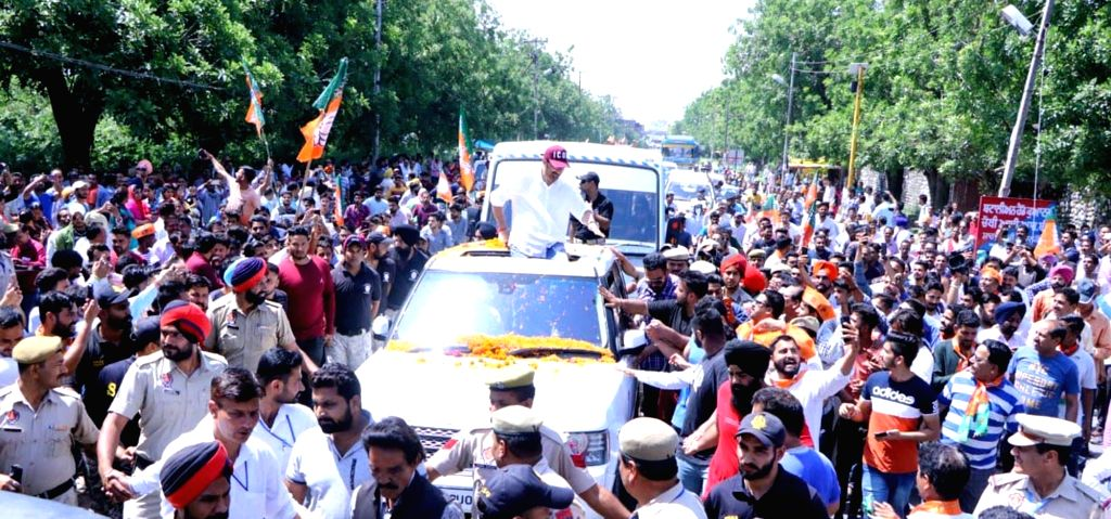 Pathankot BJP's Lok Sabha candidate from Gurdaspur, Sunny Deol during a roadshow in Punjab's Pathankot on May 3, 2019.