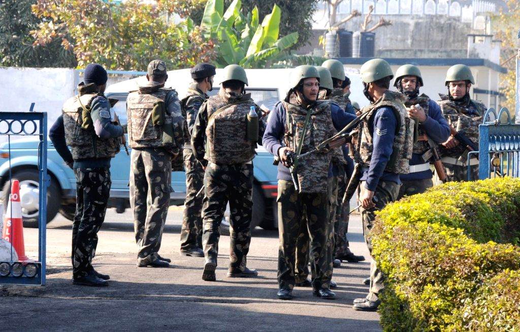 Pathankot: Soilders inside the Pathankot Air Force base that was attacked by militants; on Jan 5, 2016. (Photo: IANS)