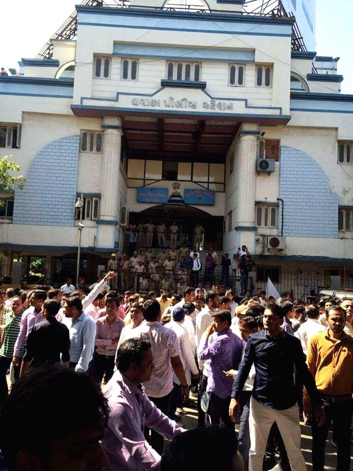 "Patidars participate in ""Jail Bharo Andolan"" in Surat of Gujarat on April 17, 2016."