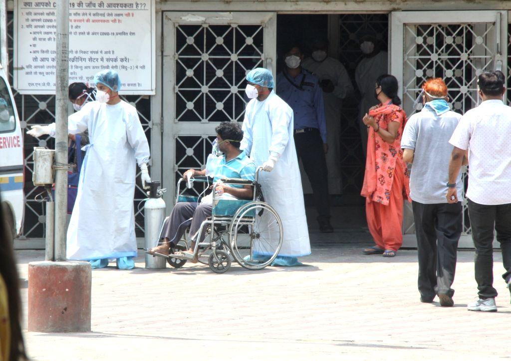Patient enter at Lok Nayak Jai Prakash Covid Hospital (LNJP) in new Delhi on Thursday May 6th, 2021.