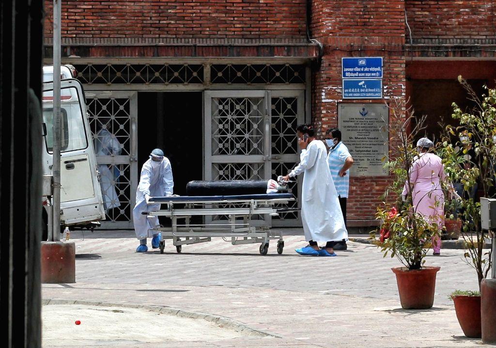 Patient enter at Lok Nayak Jai Prakash Covid Hospital (LNJP) in New Delhi on Tuesday 11 May, 2021.