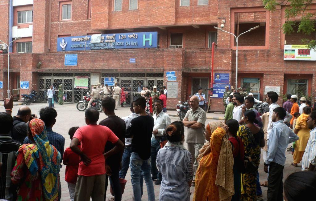 Patients left unattended after doctors at Lok Nayak Jai Prakash (LNJP) Hospital protesting against the National Medical Commission (NMC) Bill 2019, went on a strike, in New Delhi on Aug 2, ...