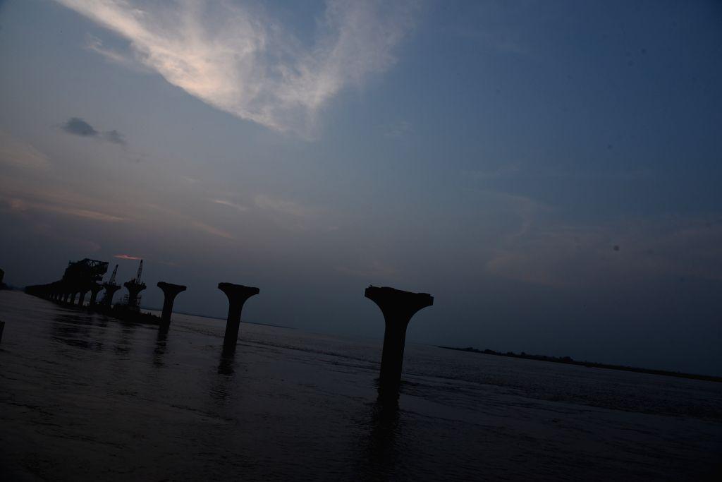 Patna: A view of swollen Ganga river in Patna on Aug 21, 2019. (Photo: IANS)