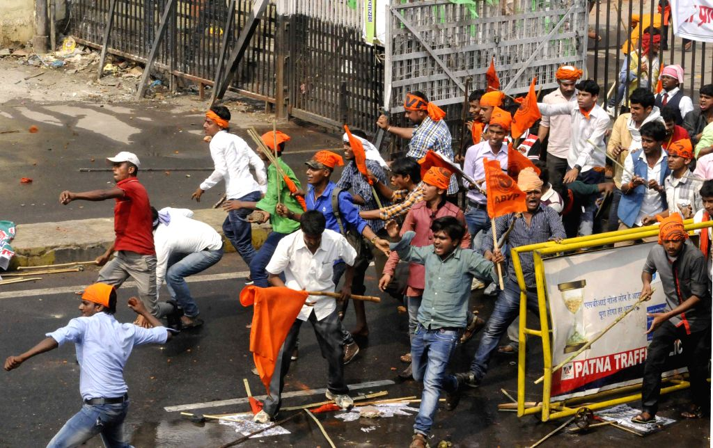 ABVP activists stage a demonstration near state assembly in Patna, on March 26, 2015.