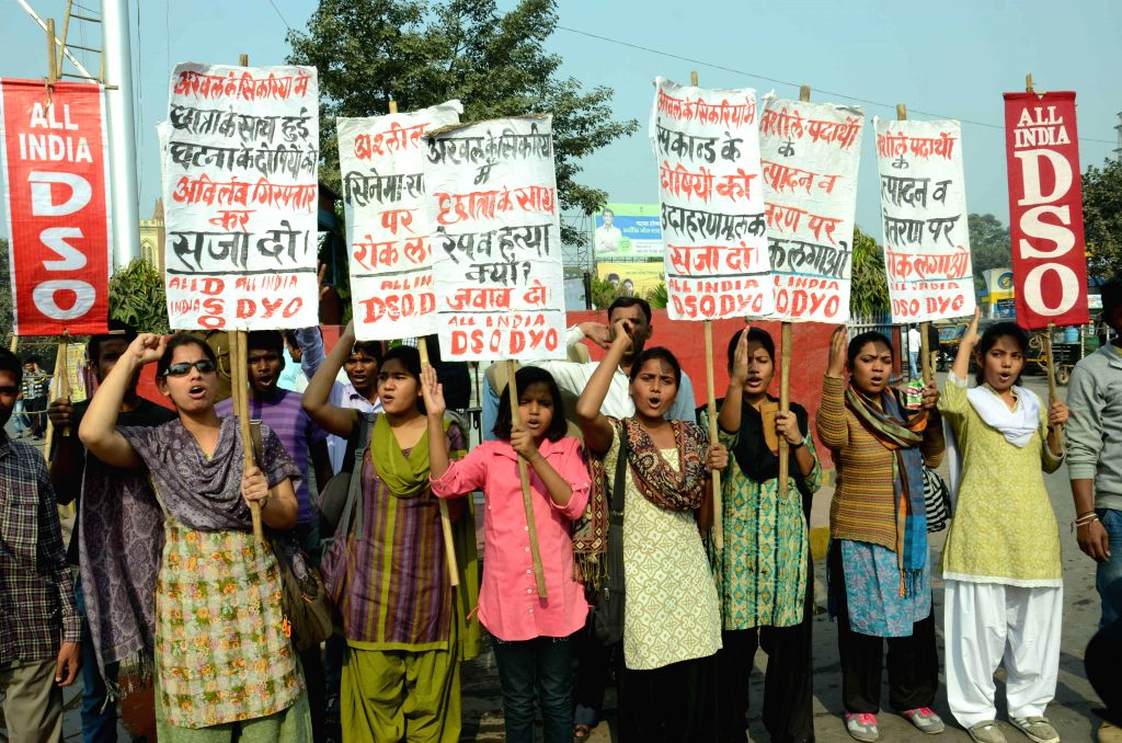 AIDSO activists stage a demonstrate to protest against rape, crime and violence against women in Patna, on Nov 22, 2014.