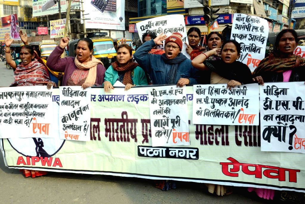 AIPWA activists stage a demonstration against the recent Muzaffarpur district collectorate rape case in Patna, on Jan 8, 2015.