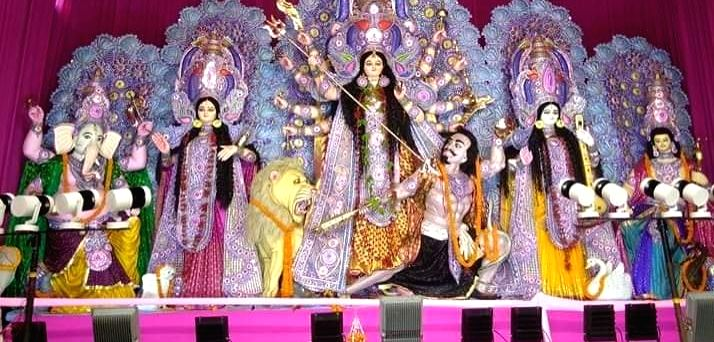 Patna: An idol of Goddess Durga flanked by the idols of Hindu Gods Ganesh, Lakshmi, Saraswati and Kartikeya, during Durga Navami celebrations at a Durga Puja pandal at Panchmukhi Hanuman Temple on Boring Road in Patna on Oct 7, 2019. (Photo: IANS)