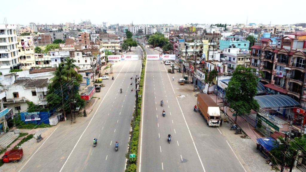 Patna bears a deserted look during a re-imposed COVID-19 lockdown in the city, on July 16, 2020.