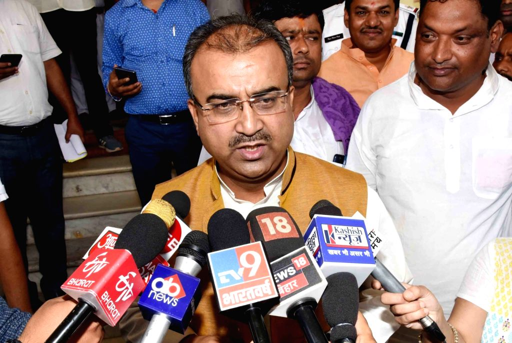 Patna: Bihar Cabinet Minister Mangal Pandey talks to media persons in Patna, on May 28, 2019. (Photo: IANS) - Mangal Pandey