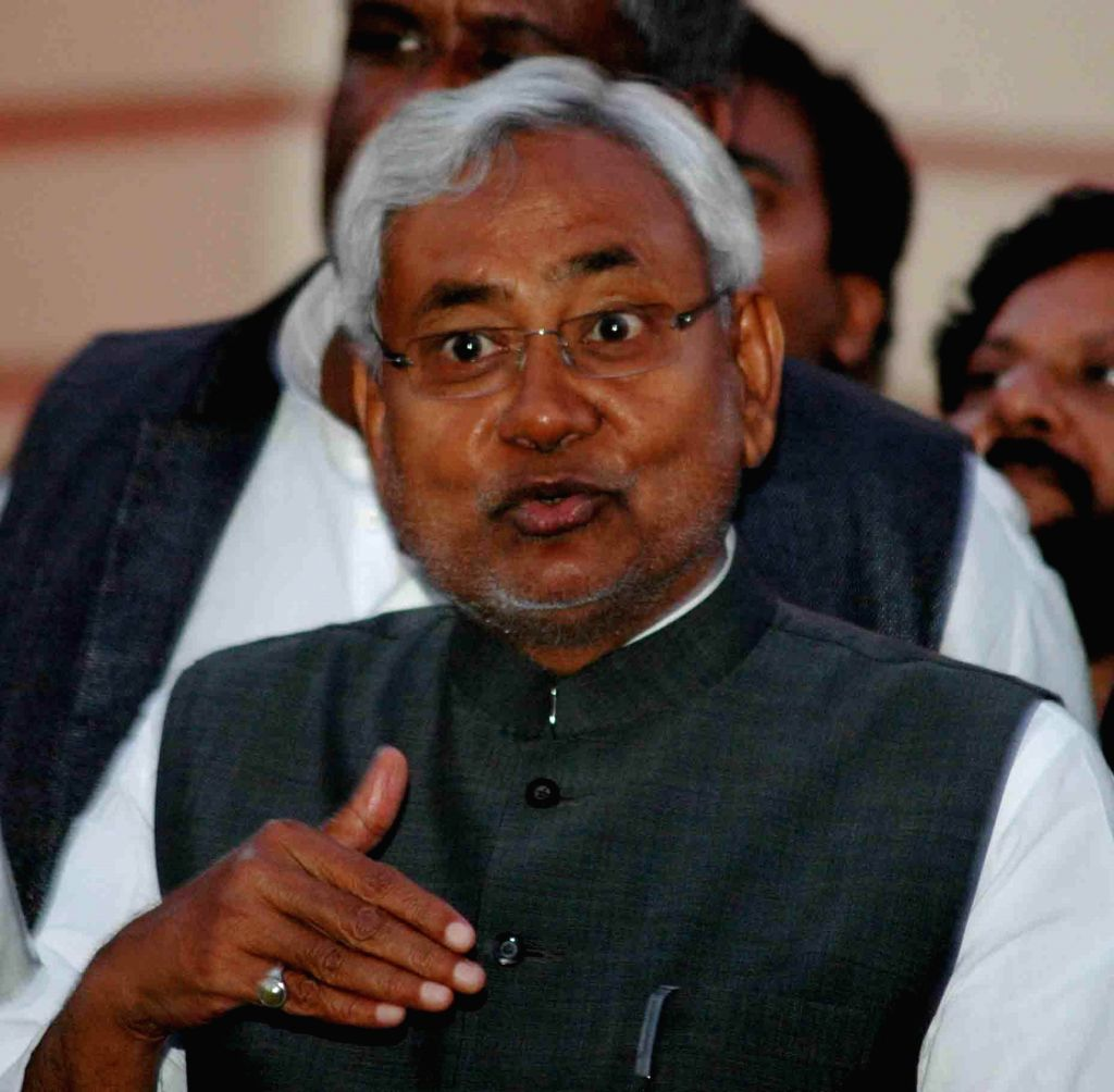 Bihar Chief Minister addresses a press conference at the Bihar Legislative Assembly premises in Patna, on March 11, 2015.
