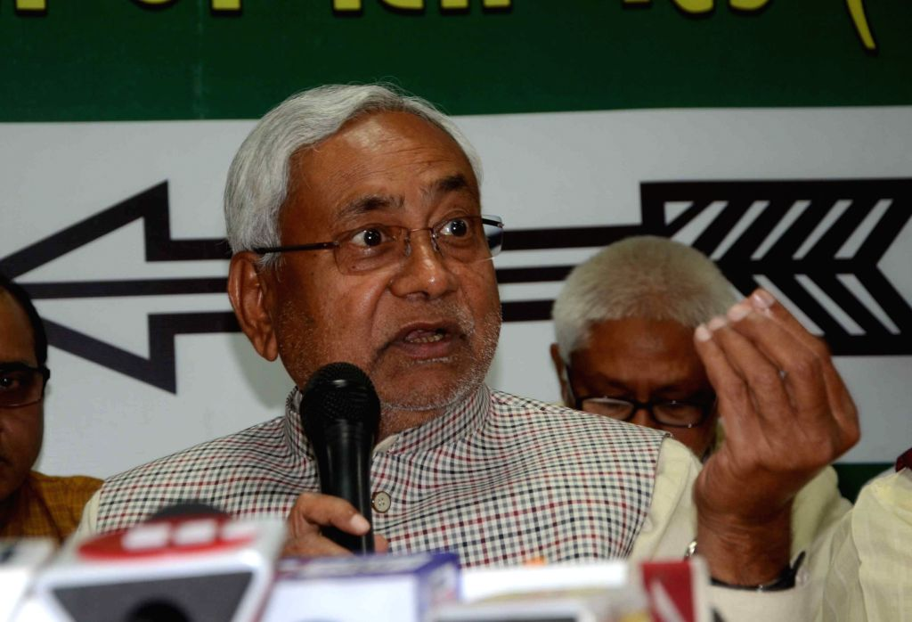 Patna: Bihar Chief Minister and Janta Dal United (JDU) national President Nitish Kumar addresses a press confrence in Patna on Feb 21, 2019. (Photo: IANS) - Nitish Kumar