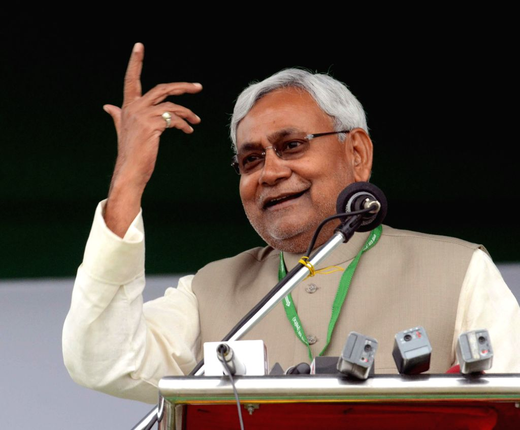 Bihar Chief Minister and JD(U) leader Nitish Kumar addresses during a JD(U) workers' rally at the Gandhi Maidan in Patna, on March 1, 2015. - Nitish Kumar