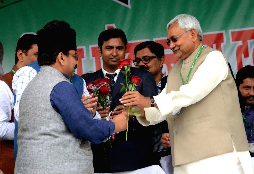 Bihar Chief Minister and JD(U) leader Nitish Kumar during a JD(U) workers' rally at the Gandhi Maidan in Patna, on March 1, 2015. - Nitish Kumar