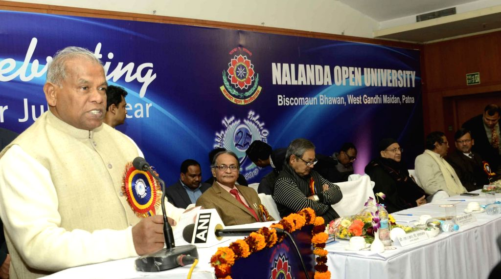 Bihar Chief Minister Jitan Ram Majhi addresses during a programme organised at Nalanda Open University in Patna on Dec. 27, 2014. - Jitan Ram Majhi