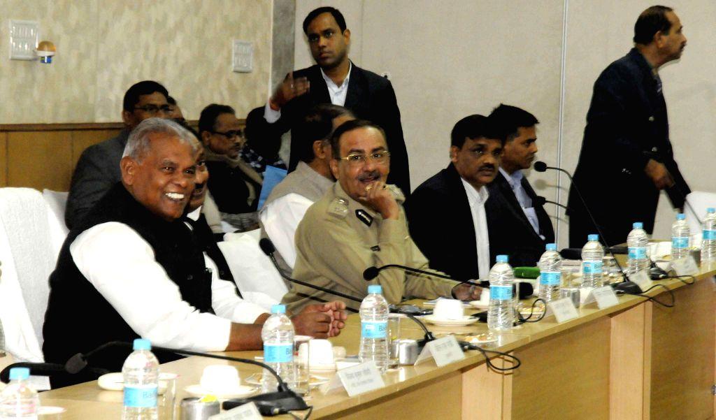 Bihar Chief Minister Jitan Ram Majhi during a meeting regarding development of Darbhanga district of the state in Patna, on Nov 24, 2014. - Jitan Ram Majhi