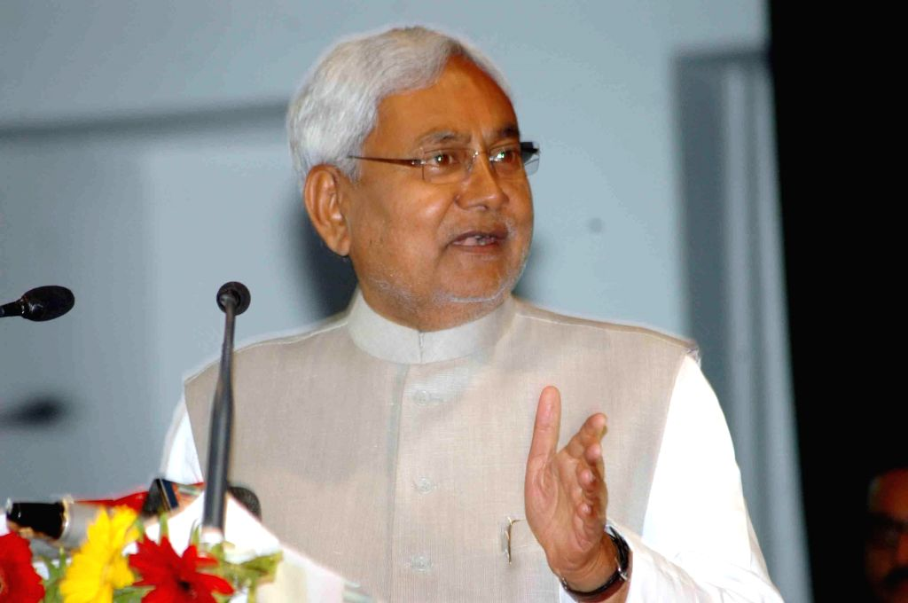 Bihar Chief Minister Nitish Kumar addresses during inauguration of a programme organised on the International Women's Day in Patna, on March 8, 2015. - Nitish Kumar