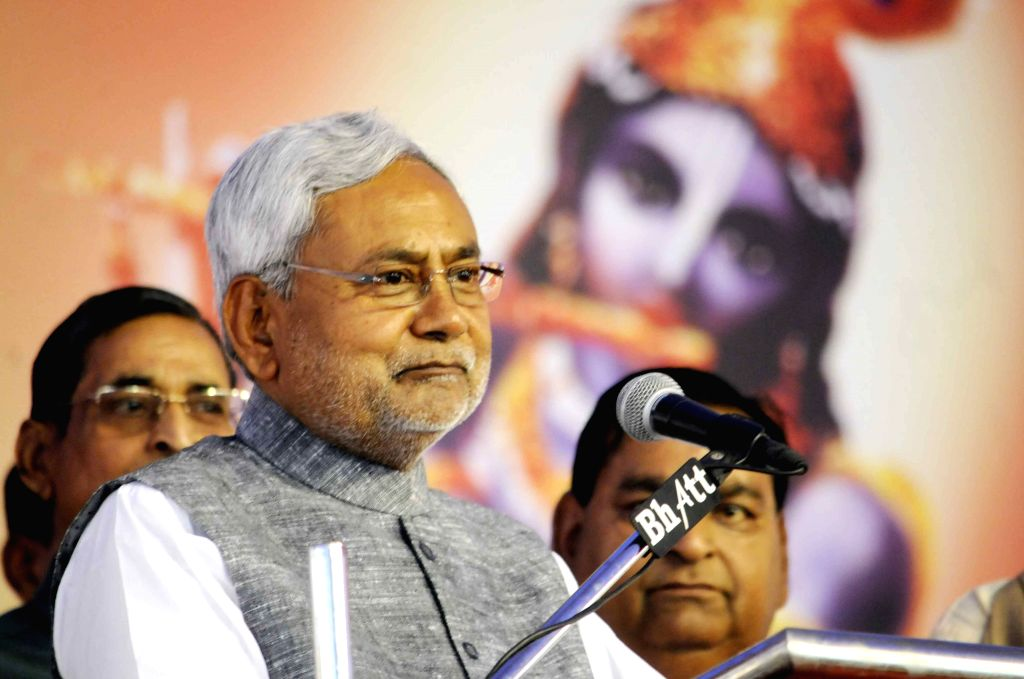 Bihar Chief Minister Nitish Kumar addresses during a programme in Patna on March 25, 2015.