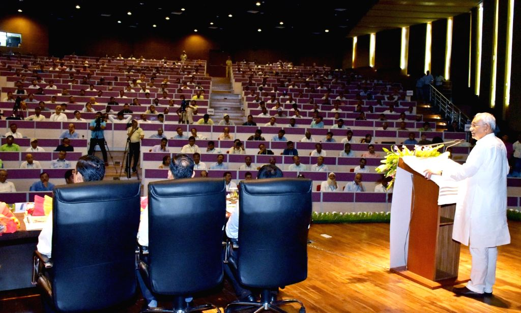 Patna: Bihar Chief Minister Nitish Kumar addresses a seminar on 'Major Bridges in Bihar', in Patna on July 26, 2019. (Photo: IANS) - Nitish Kumar