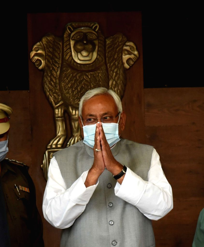 Patna : Bihar Chief Minister Nitish Kumar arrives at the Bihar Assembly for the budget session on February 22, 2021. - Nitish Kumar