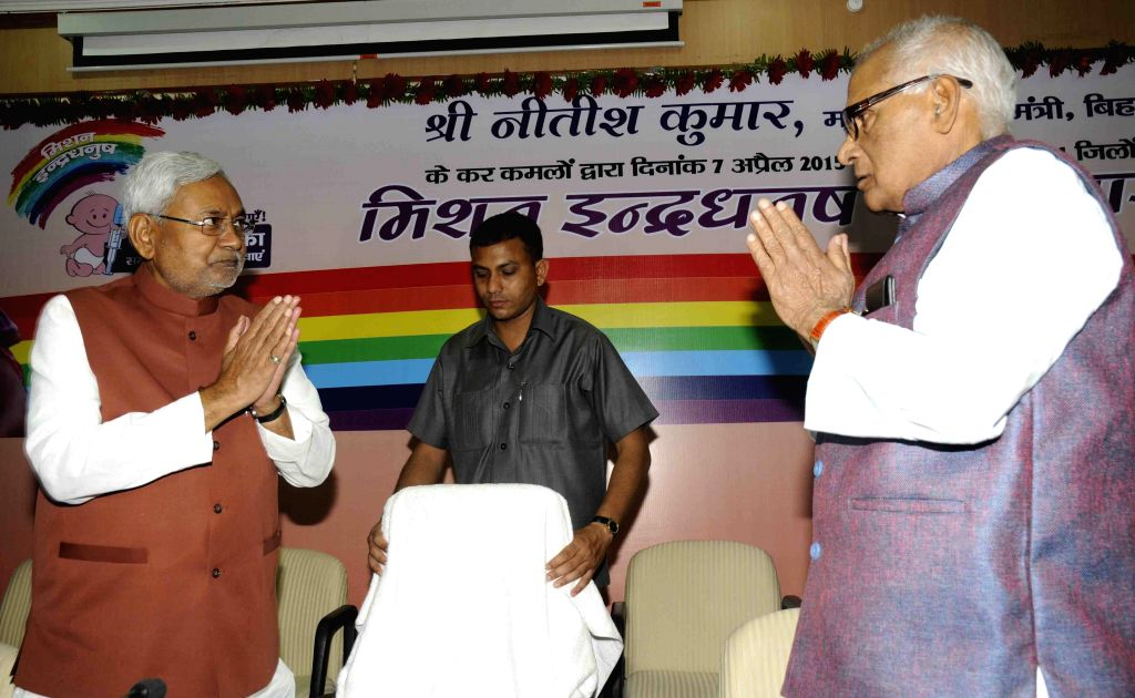 Bihar Chief Minister Nitish Kumar at the launch of Mission Indradhanush - an immunisation programme in Patna, on April 7, 2015. - Nitish Kumar