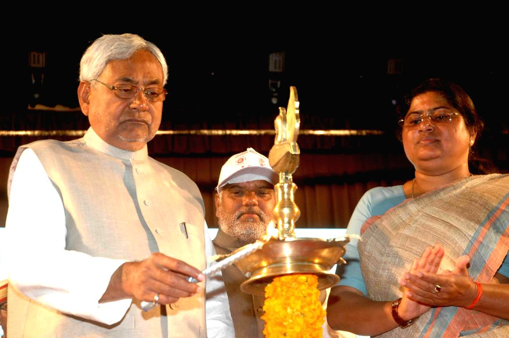 Bihar Chief Minister Nitish Kumar during inauguration of a programme organised on the International Women's Day in Patna, on March 8, 2015. - Nitish Kumar