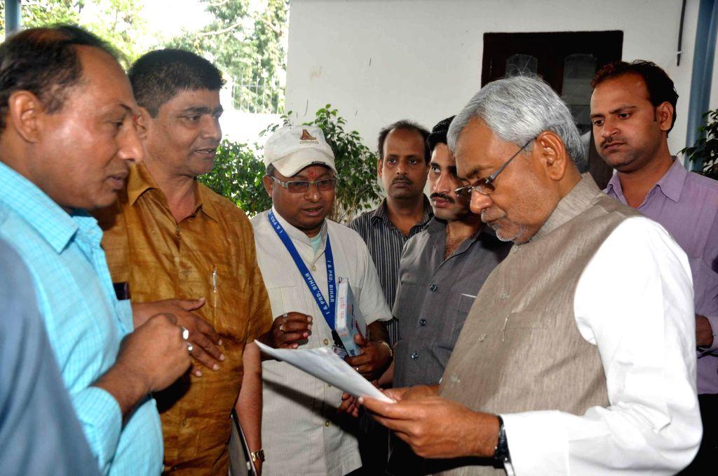 Bihar Chief Minister Nitish Kumar during Janata Durbar in Patna on March 16, 2015.
