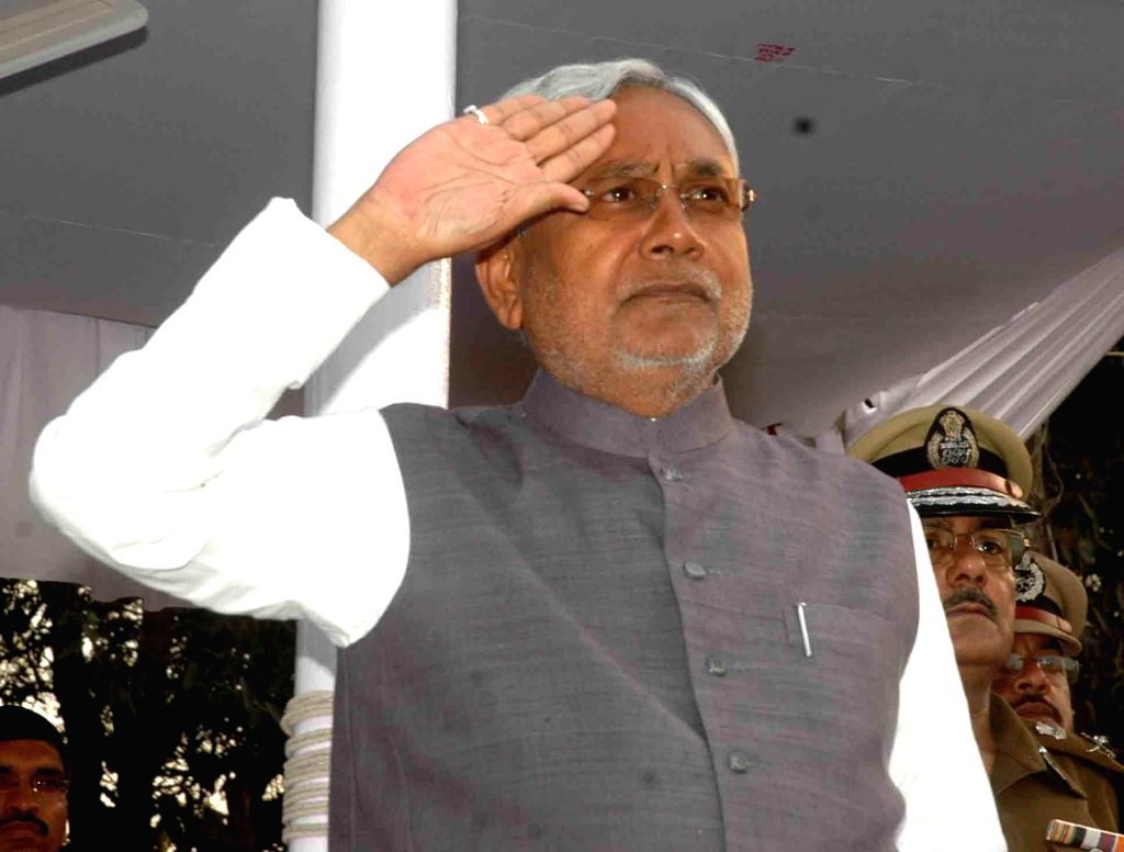 Bihar Chief Minister Nitish Kumar during a programme organised on Police Day in Patna, on Feb 27, 2015.