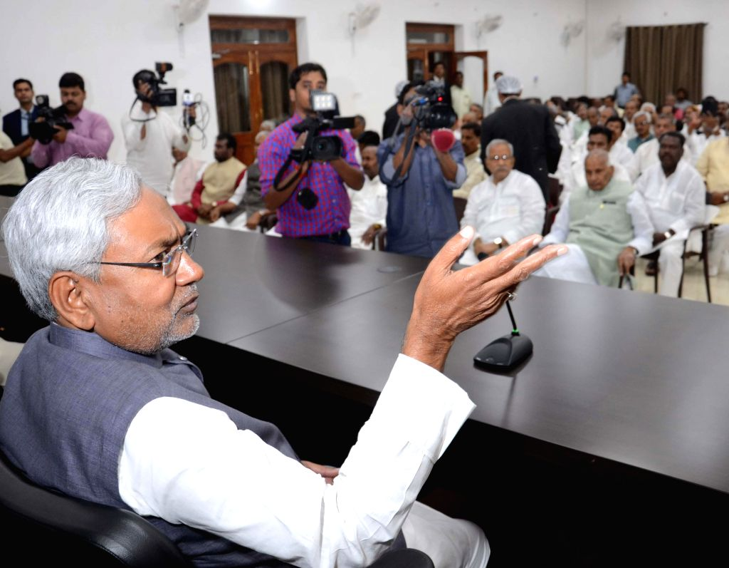 Bihar Chief Minister Nitish Kumar during a JDU legislative party meeting in Patna on March 10, 2015. - Nitish Kumar