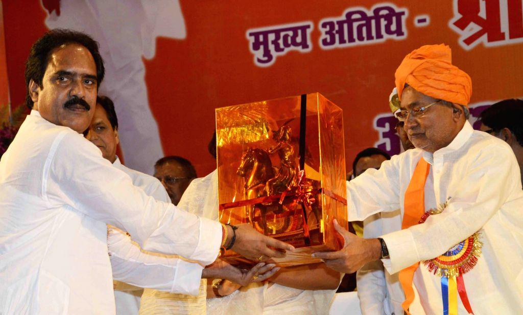 Bihar Chief Minister Nitish Kumar during a programme organised on Veer Kunwar Singh Jayanti in Patna, on April 23, 2015. - Nitish Kumar