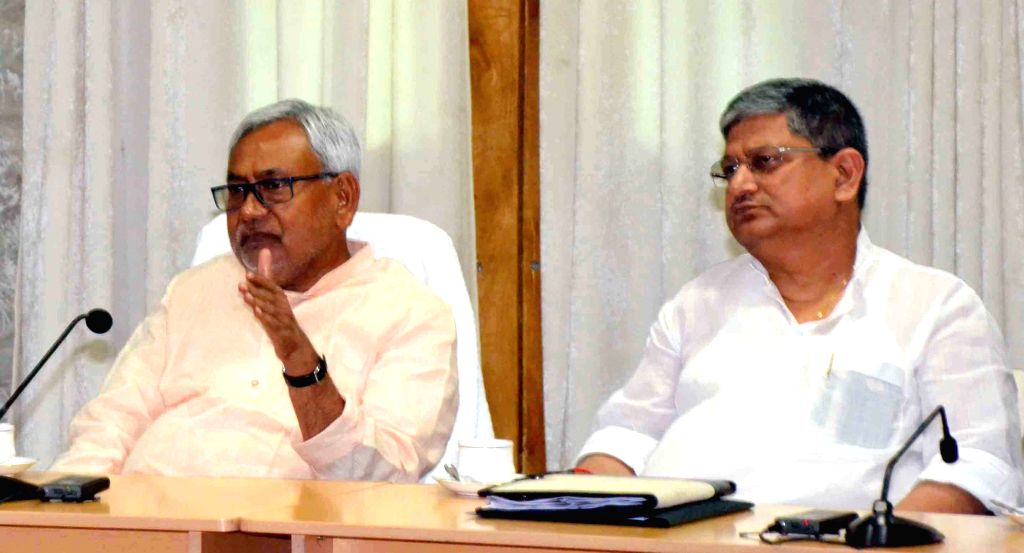 Bihar Chief Minister Nitish Kumar during a meeting with the officials of Bihar Transport department in Patna on May 5, 2015. - Nitish Kumar