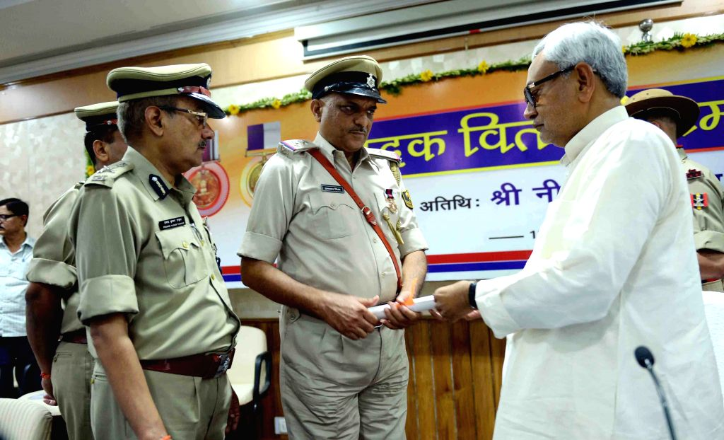 Bihar Chief Minister Nitish Kumar during a programme organised to distribute police medals in Patna, on June 12, 2015.