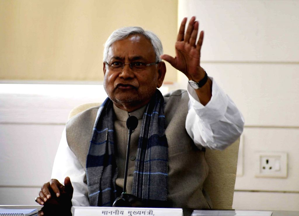 Patna: Bihar Chief Minister Nitish Kumar talks to media persons during 'Lok Samvad' programme in Patna, on Feb 4, 2019. (Photo: IANS) - Nitish Kumar