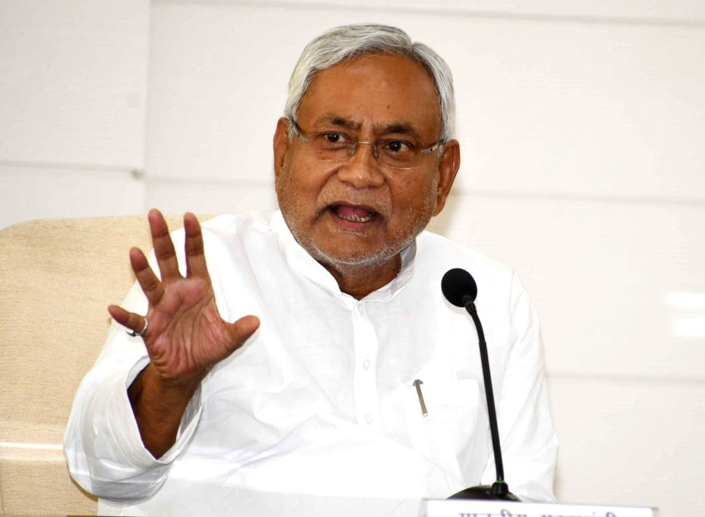 Patna: Bihar Chief Minister Nitish Kumar talks to media persons during 'Lok Samvad' - a public interaction programme, in Patna on June 10, 2019. (Photo: IANS) - Nitish Kumar