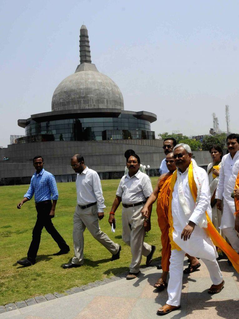 Bihar Chief Minister Nitish Kumar visits the Buddha Smriti Udyaan on Buddha Purnima in Patna, on May 4, 2015.