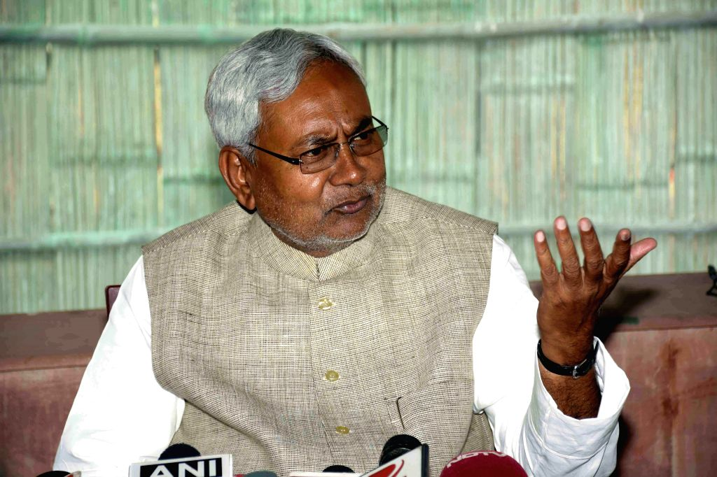 Bihar Chief Minster Nitish Kumar addresses a press conference   in Patna, on Feb 26, 2015.