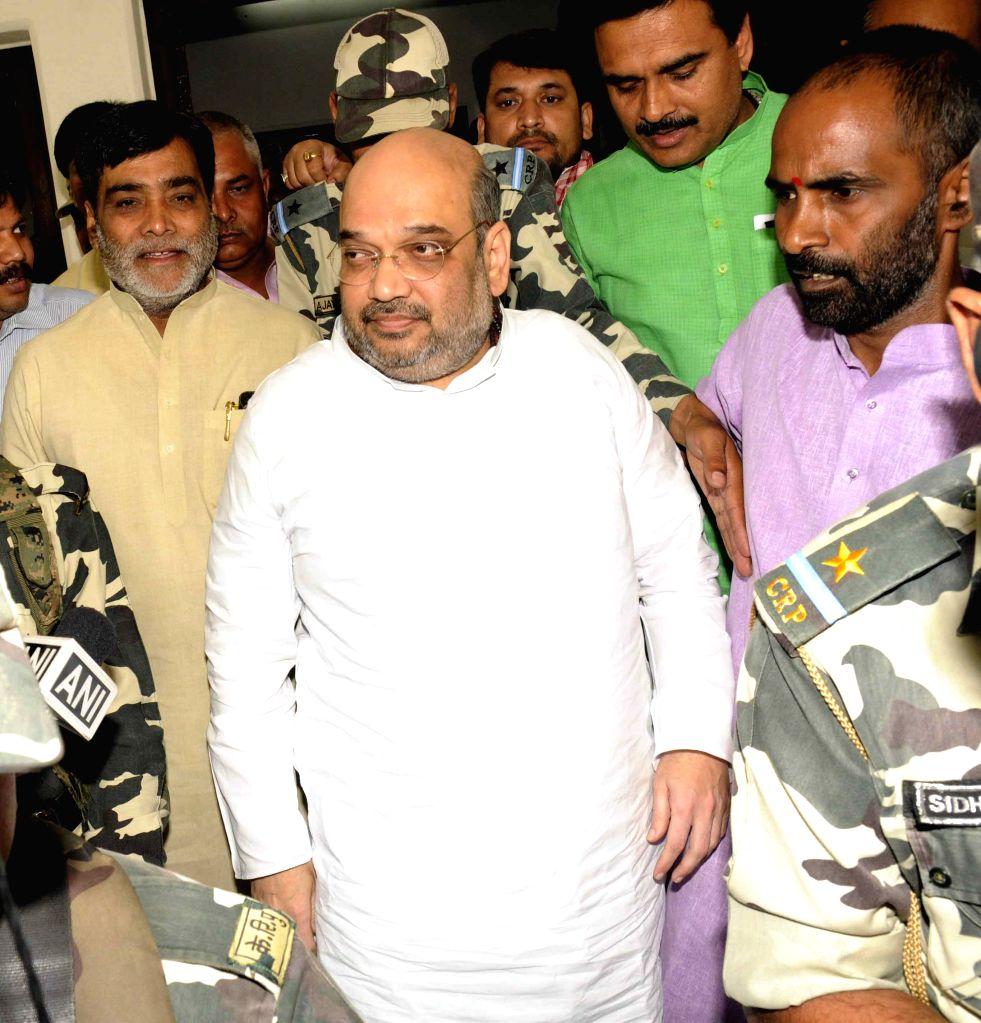 BJP chief Amit Shah at Patna Airport on April 15, 2015.