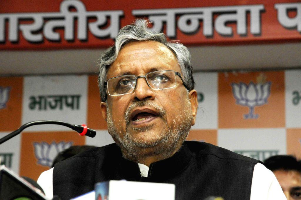 Patna: BJP leader Sushil Kumar Modi addresses a press conference in Patna on August 1, 2015.