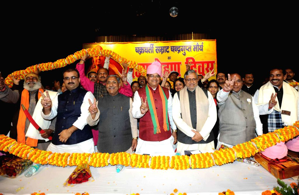 BJP leader Sushil Kumar Modi during a programme organised to pay tribute to Chandragupta Maurya - the founder of the Maurya Empire, in Patna on Dec 9, 2014. - Sushil Kumar Modi