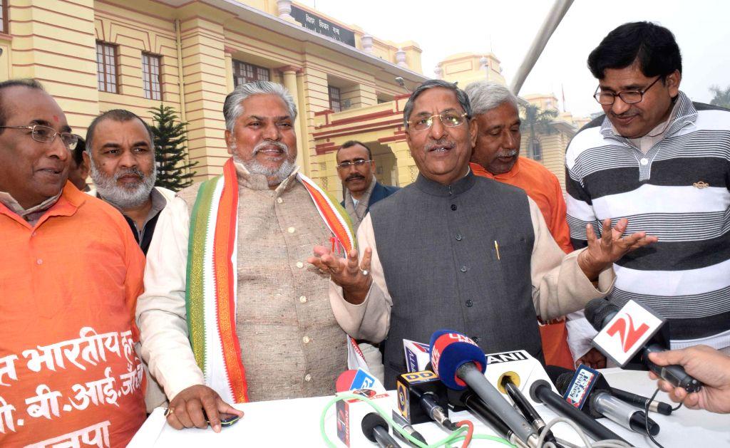 BJP legislators address a press conference at the premises of  Bihar Assembly in Patna, on Dec 22, 2014.